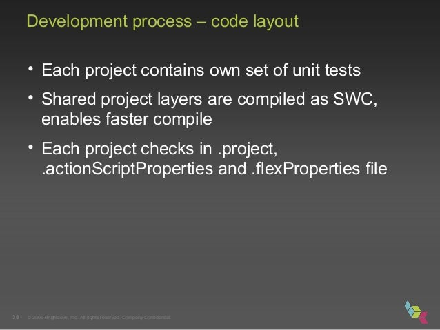 © 2006 Brightcove, Inc. All rights reserved. Company Confidential.38 Development process – code layout • Each project cont...