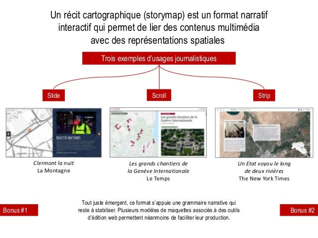 Trois exemples d'usages journalistiques Slide Scroll Strip Un récit cartographique (storymap) est un format narratif inter...