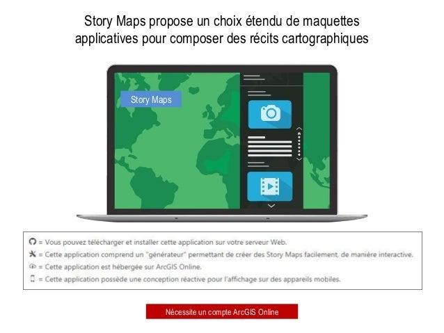 Story Maps Story Maps propose un choix étendu de maquettes applicatives pour composer des récits cartographiques Nécessite...