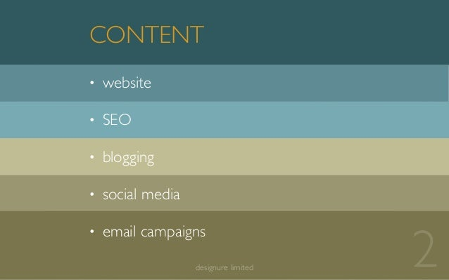 • website • SEO • blogging • social media • email campaigns CONTENT 2designure limited