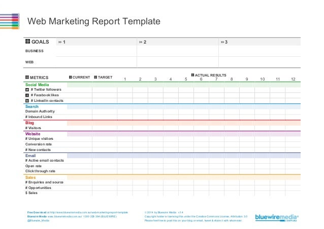 Web Marketing Report Template GOALS  >> 1  >> 2  >> 3  BUSINESS WEB  METRICS  CURRENT  TARGET  ACTUAL RESULTS  1  2  3  4 ...