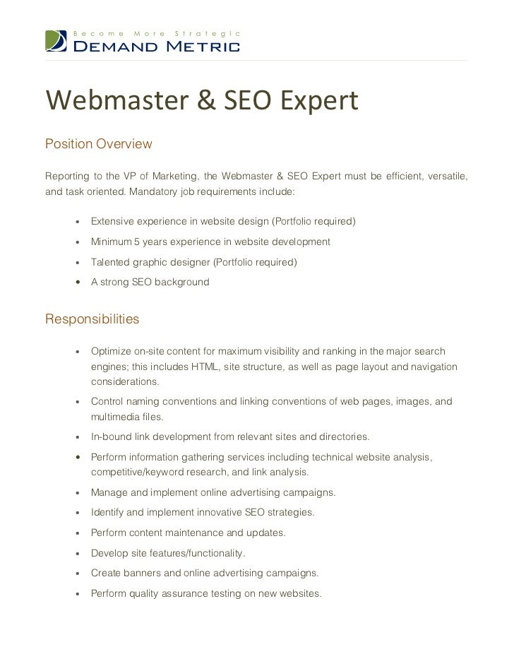 Webmaster  Seo Expert Job Description