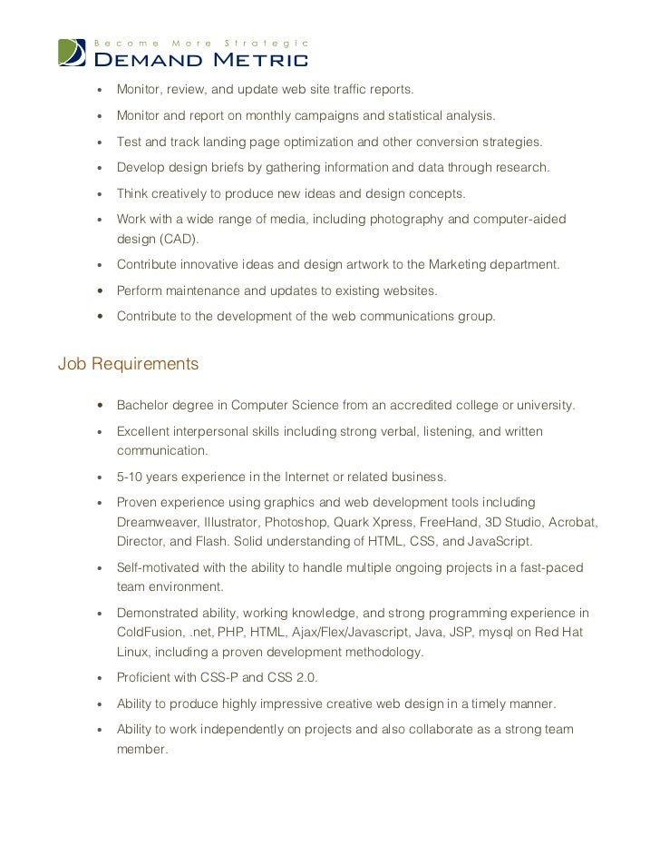 Webmaster & Seo Expert Job Description