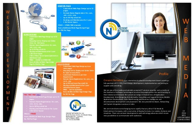 STARTER PACK • Customized Web Page Design up to 15 pages. • Domain Name Registration: Viz .com, .net, .co.in, .org . • Up ...