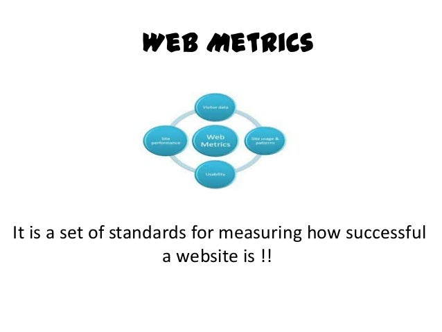 Web MetricsIt is a set of standards for measuring how successfula website is !!