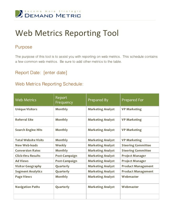 Web Metrics Reporting ToolPurposeThe purpose of this tool is to assist you with reporting on web metrics. This schedule co...