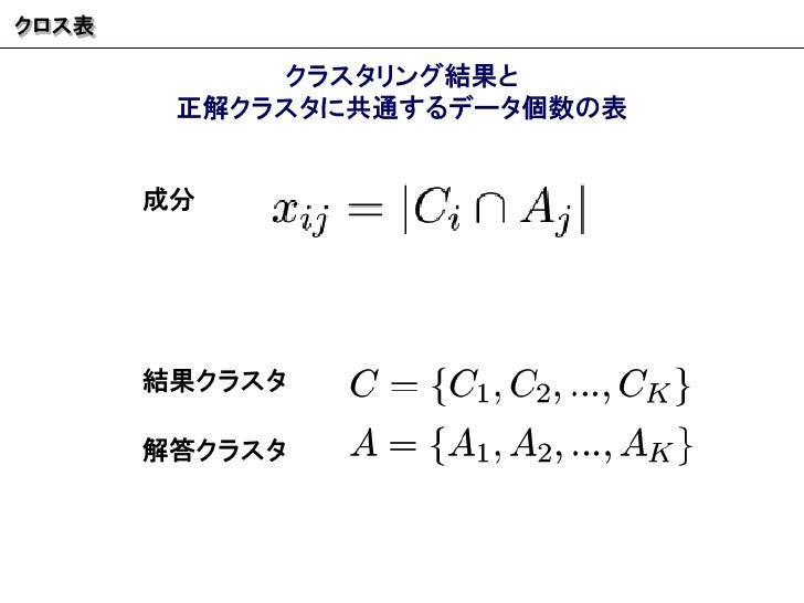 クロス表 クラスタリング結果と 正解クラスタに共通するデータ個数の表 成分 結果クラスタ 解答クラスタ