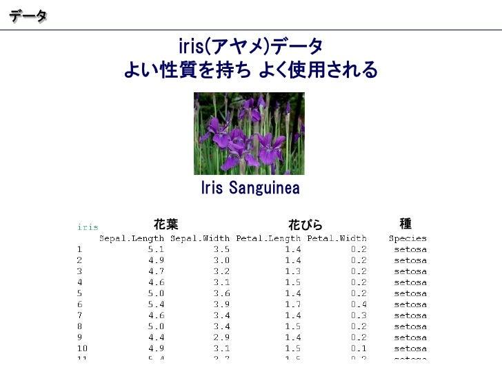 iris( アヤメ ) データ よい性質を持ち よく使用される データ Iris Sanguinea 花葉 花びら 種