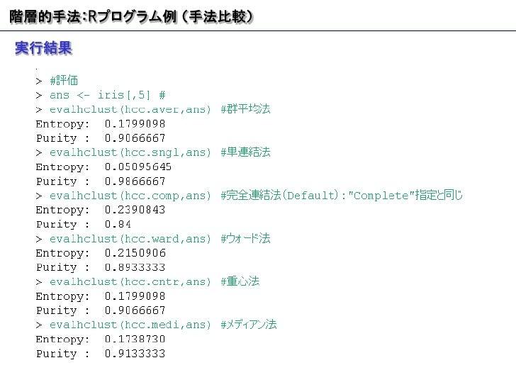 階層的手法: R プログラム例 (手法比較) 実行結果