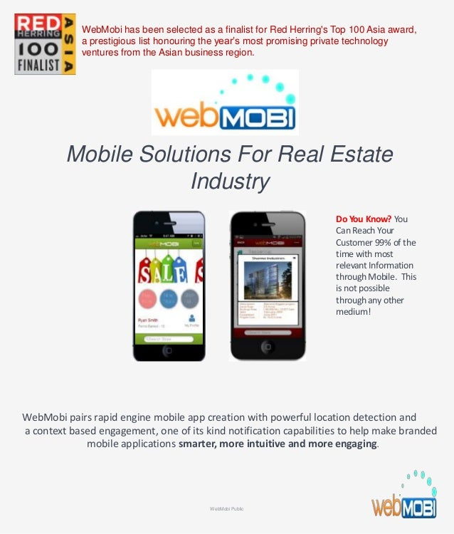Mobile Solutions For Real Estate Industry WebMobi pairs rapid engine mobile app creation with powerful location detection ...