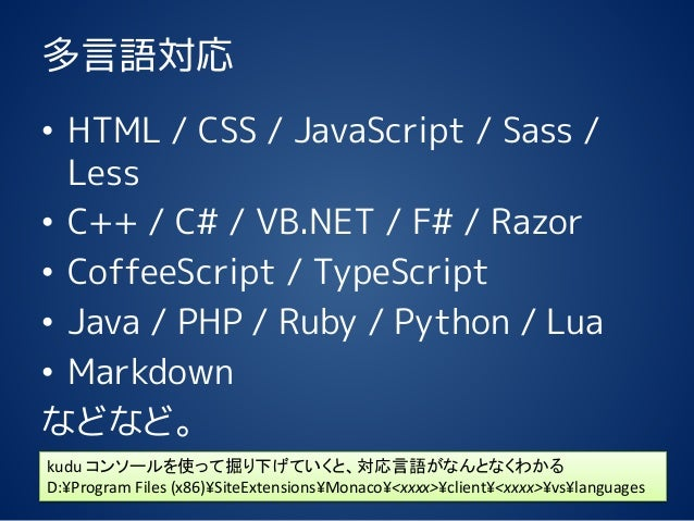 多言語対応 • HTML / CSS / JavaScript / Sass / Less • C++ / C# / VB.NET / F# / Razor • CoffeeScript / TypeScript • Java / PHP / ...