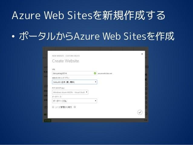 Azure Web Sitesを新規作成する • ポータルからAzure Web Sitesを作成