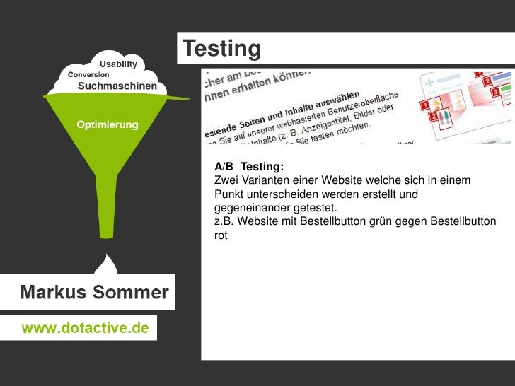 UsabilityTesting<br />Testbenutzer führen auf der Website / Designdummy/ Wireframe typische Aktionen durch, der  Ablauf wi...
