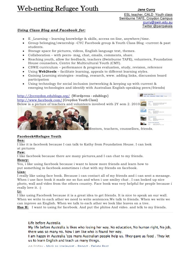 Web-netting Refugee Youth                                                  Jane Curry                                     ...