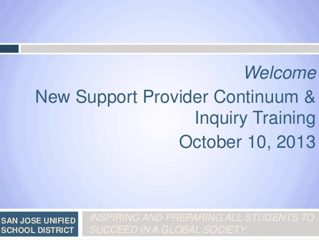 Welcome New Support Provider Continuum & Inquiry Training October 10, 2013  SAN JOSE UNIFIED SCHOOL DISTRICT  INSPIRING AN...