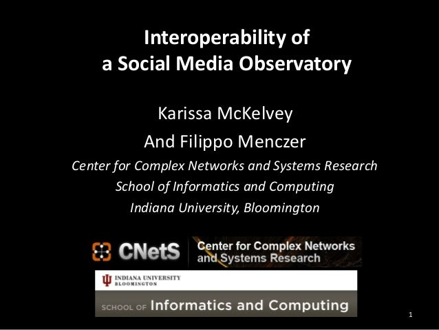 Interoperability of a Social Media Observatory Karissa McKelvey And Filippo Menczer Center for Complex Networks and System...