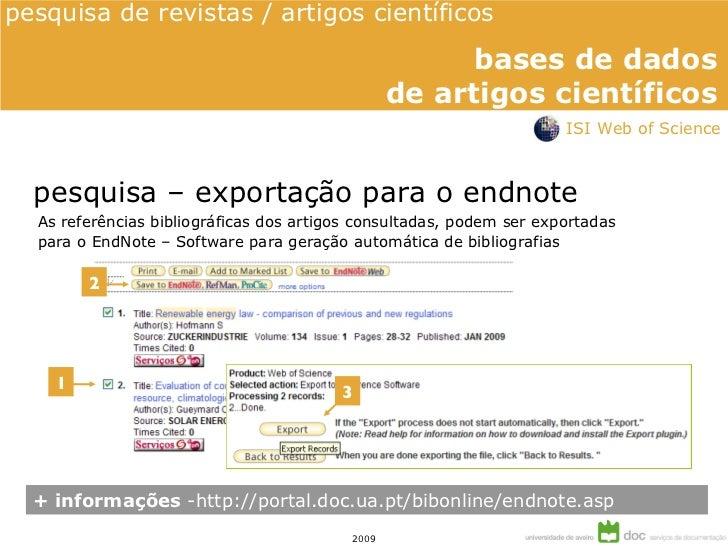 ISI Web of Science - bases de dados de artigos científicos