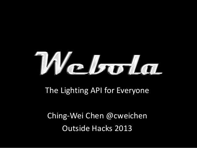 The Lighting API for Everyone Ching-Wei Chen @cweichen Outside Hacks 2013