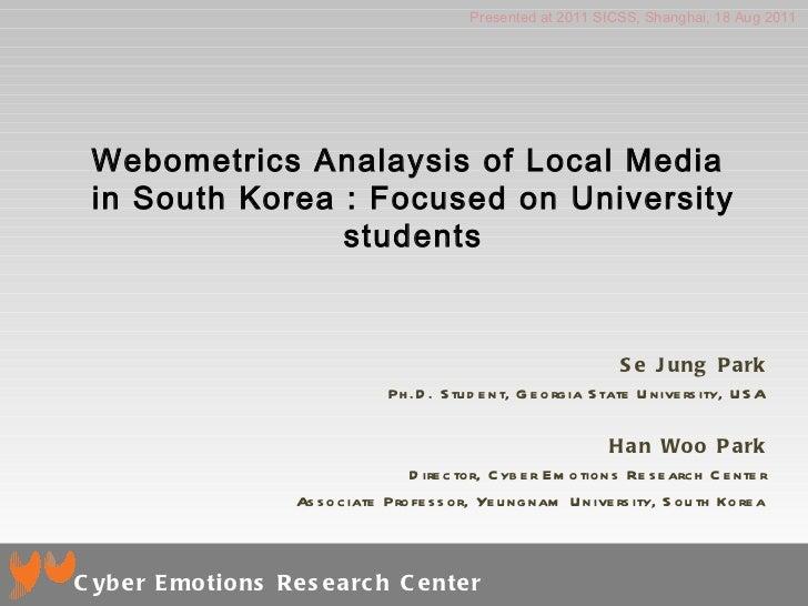 Webometrics Analaysis of Local Media  in South Korea : Focused on University students Se Jung Park Ph.D. Student, Georgia ...