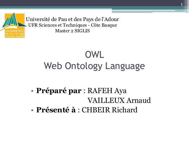 1  Université de Pau et des Pays de l'Adour UFR Sciences et Techniques - Côte Basque Master 2 SIGLIS  OWL Web Ontology Lan...