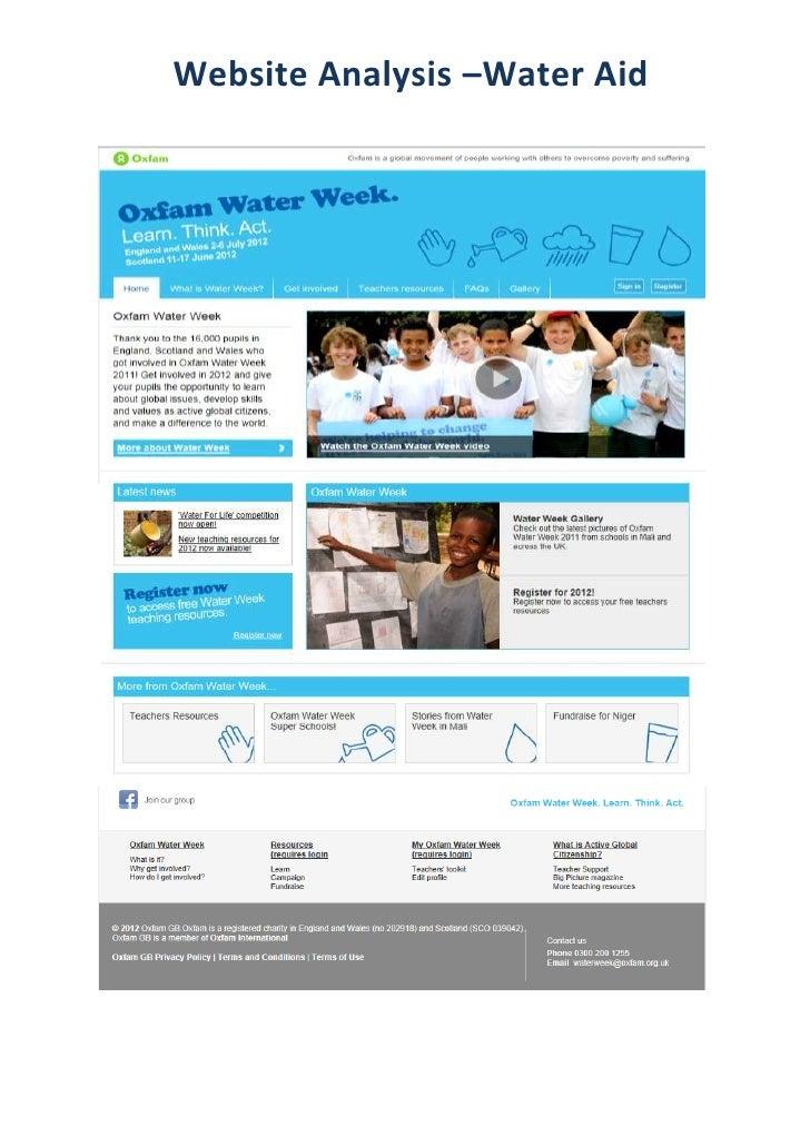 Website Analysis –Water Aid