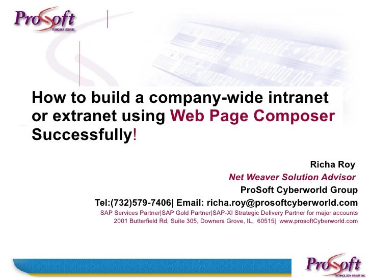How to build a company-wide intranet or extranet using Web Page Composer Successfully!                                    ...