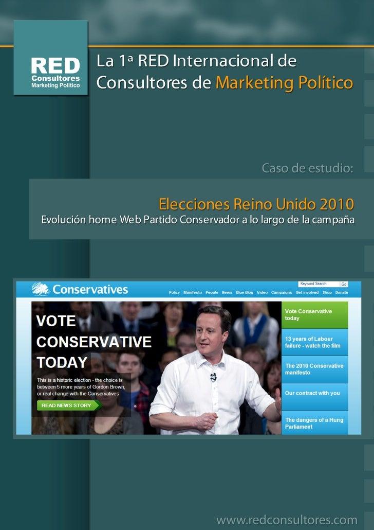 Evolución home Web Partido Conservador a lo largo de la campaña.  Página el día de las elecciones                         ...