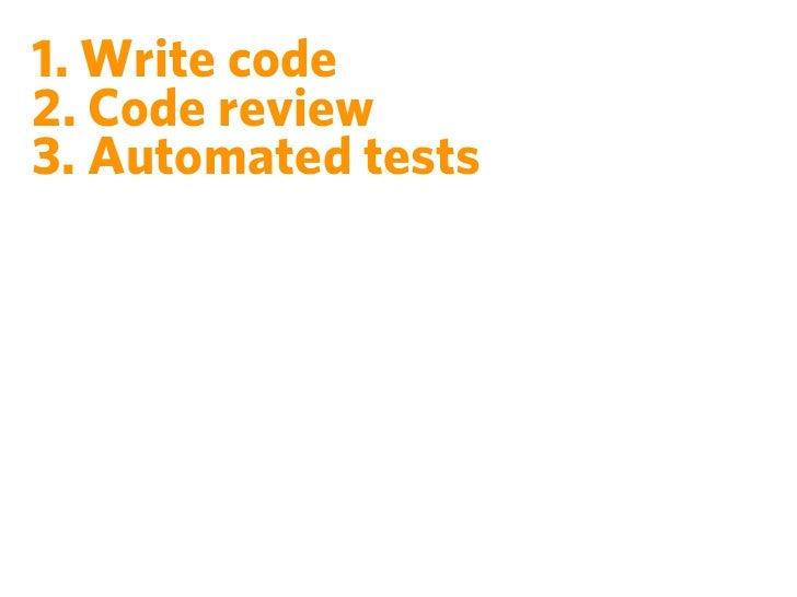 1. Write code2. Code review3. Automated tests4. Dev ⇾ QA ⇾ Pre-Prod ⇾ Prod