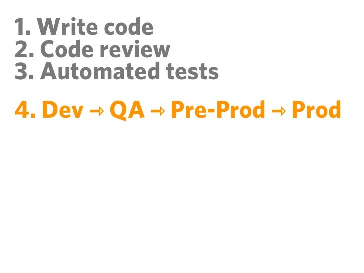 1. Write code2. Code review3. Automated tests4. Dev ⇾ QA ⇾ Pre-Prod ⇾ Prod5. Monitor!6. Monitor!7. Monitor!