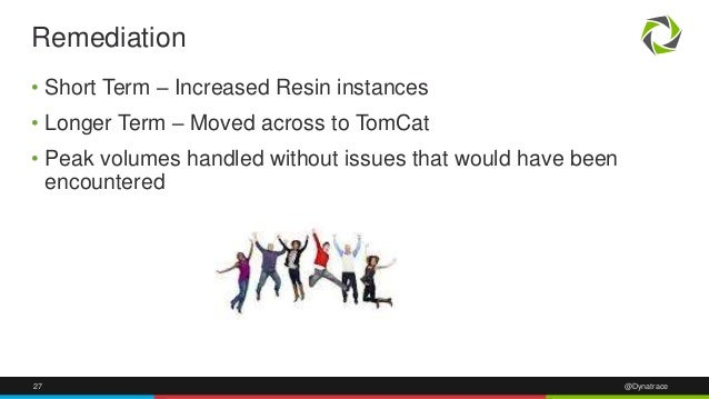 27 @Dynatrace • Short Term – Increased Resin instances • Longer Term – Moved across to TomCat • Peak volumes handled witho...