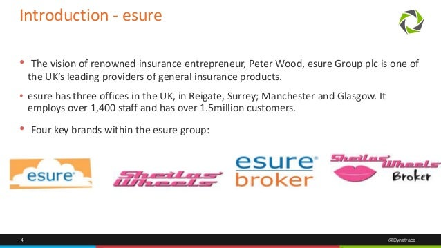 4 @Dynatrace Introduction - esure • The vision of renowned insurance entrepreneur, Peter Wood, esure Group plc is one of t...