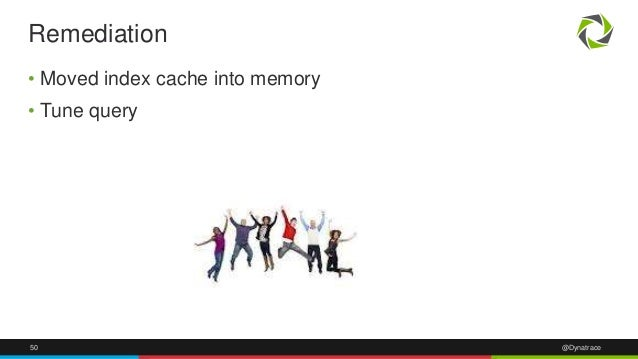 50 @Dynatrace • Moved index cache into memory • Tune query Remediation