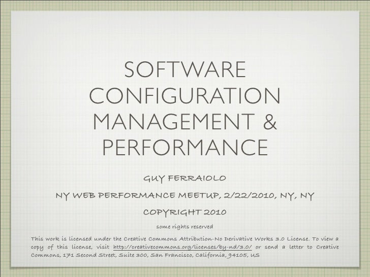 SOFTWARE                    CONFIGURATION                    MANAGEMENT &                     PERFORMANCE                 ...