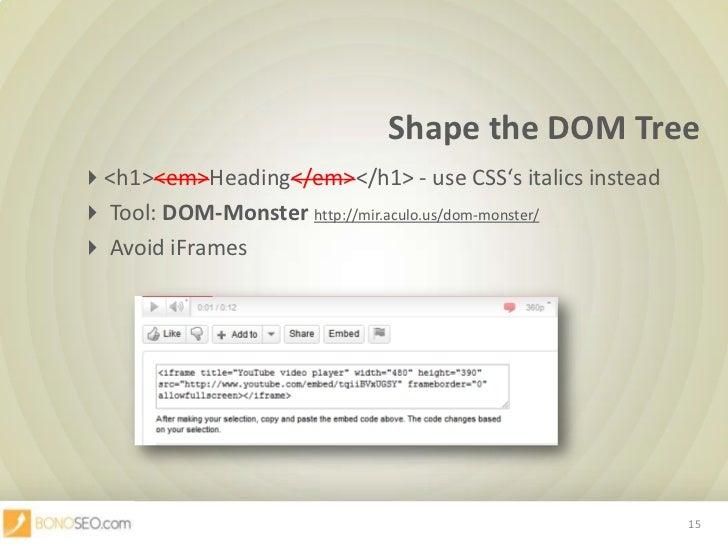 Shape the DOM Tree<br /><h1><em>Heading</em></h1> - useCSS'sitalicsinstead<br /> Tool: DOM-Monsterhttp://mir.aculo.u...