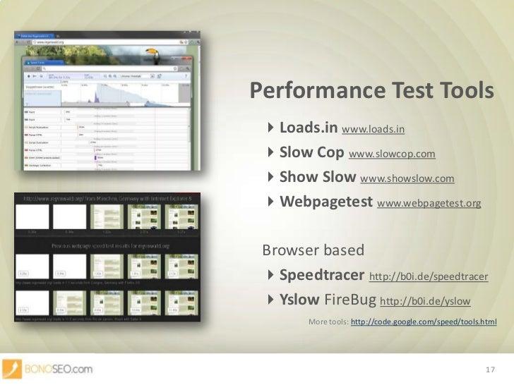 Performance Test Tools<br />Loads.inwww.loads.in<br />Slow Copwww.slowcop.com<br />Show Slowwww.showslow.com<br />Webp...