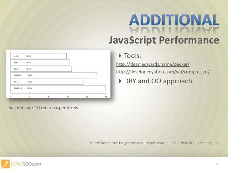 JavaScript Performance<br />Additional<br />Tools: <br />http://dean.edwards.name/packer/<br />http://developer.yah...