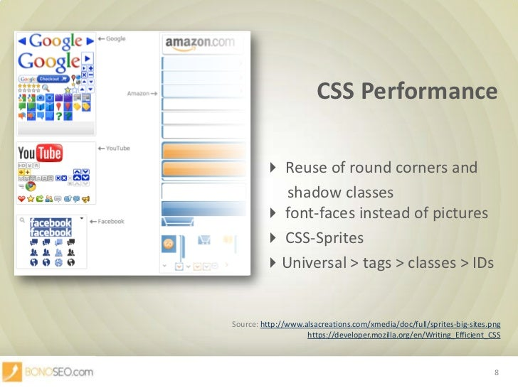 CSS Performance<br /> Reuse of round corners and <br />      shadow classes font-faces instead of pic...