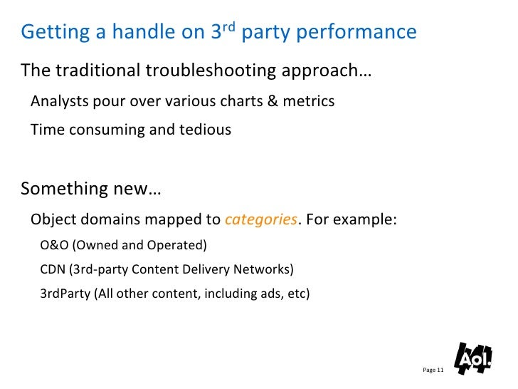 Getting a handle on 3rd party performance The traditional troubleshooting approach…  Analysts pour over various charts & m...