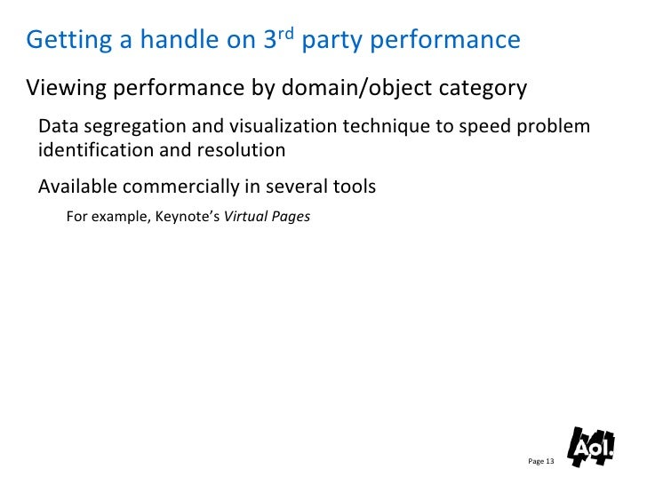 Getting a handle on 3rd party performance Viewing performance by domain/object category  Data segregation and visualizatio...