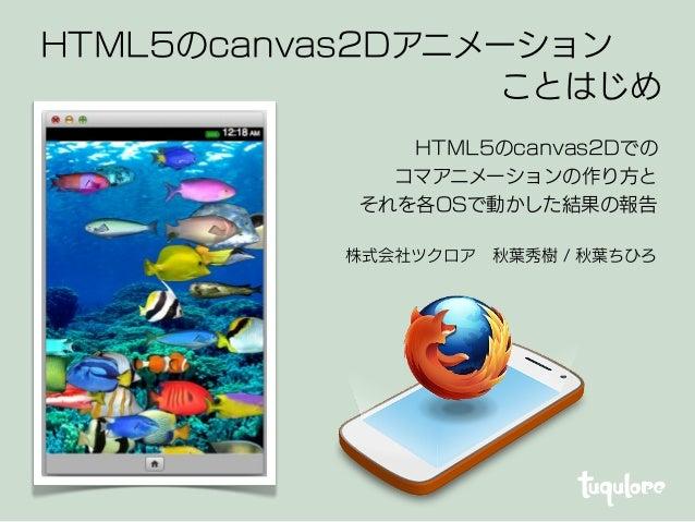 株式会社ツクロア秋葉秀樹 / 秋葉ちひろ HTML5のcanvas2Dアニメーション ことはじめ HTML5のcanvas2Dでの コマアニメーションの作り方と それを各OSで動かした結果の報告