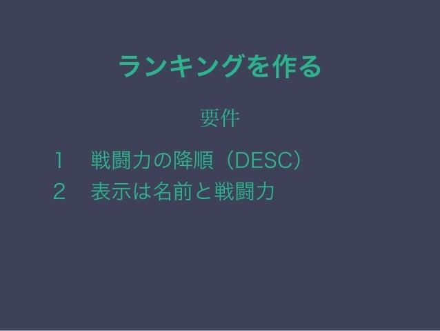 実際のSQL SELECT 名前,戦闘力 FROMキャラクター ORDER BY 戦闘力 DESC