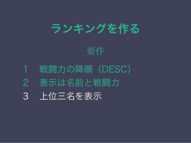 実際のSQL SELECT 名前,戦闘力 FROMキャラクター ORDER BY 戦闘力 DESC LIMIT 3
