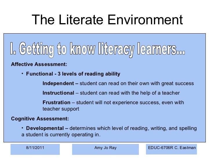 8/11/2011 Amy Jo Ray <ul><li>Affective Assessment: </li></ul><ul><ul><li>Functional - 3 levels of reading ability </li></u...