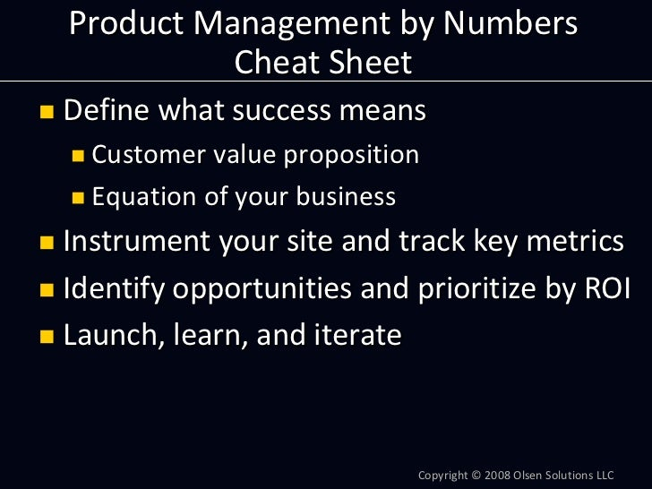 ProductManagementbyNumbers           CheatSheet Definewhatsuccessmeans   Customervalueproposition   Equationofy...