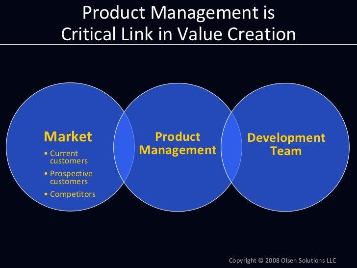 ProductManagementis     CriticalLinkinValueCreation     Market            Product         Development • Current  ...