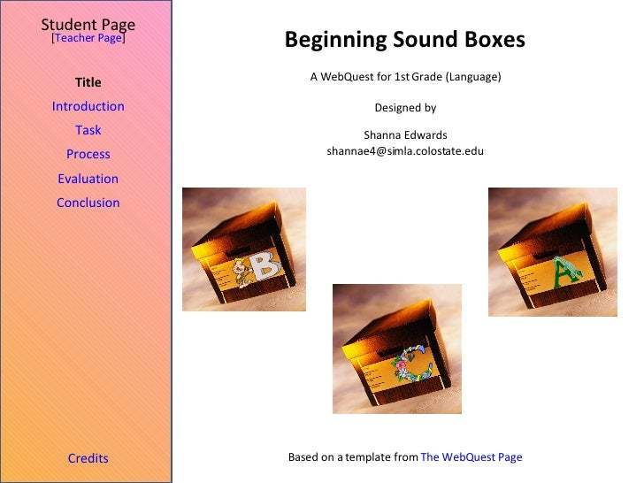 Beginning Sound Boxes Student Page Title Introduction Task Process Evaluation Conclusion Credits [ Teacher Page ] A WebQue...