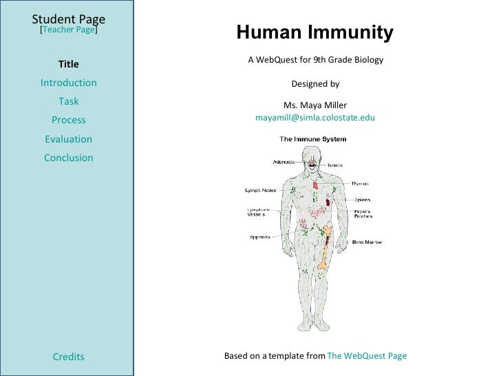 Human Immunity Student Page Title Introduction Task Process Evaluation Conclusion Credits [ Teacher Page ] A WebQuest for ...
