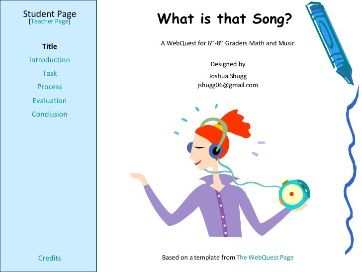 What is that Song? Student Page Title Introduction Task Process Evaluation Conclusion Credits [ Teacher Page ] A WebQuest ...
