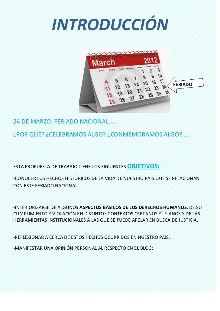 INTRODUCCIÓN                                                                  FERIADO24 DE MARZO, FERIADO NACIONAL…..¿POR ...