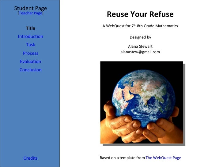 Reuse Your Refuse Student Page Title Introduction Task Process Evaluation Conclusion Credits [ Teacher Page ] A WebQuest f...